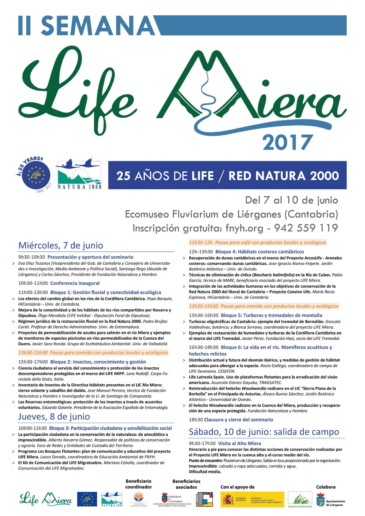 Cartel con el programa para las Jornadas LIFE Miera